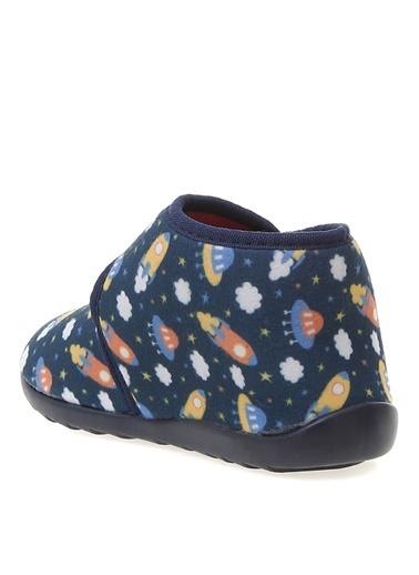 Limon Company Elmot Tekstil Desenli Cırt Cırtlı Erkek Çocuk Ev Ayakkabısı Lacivert